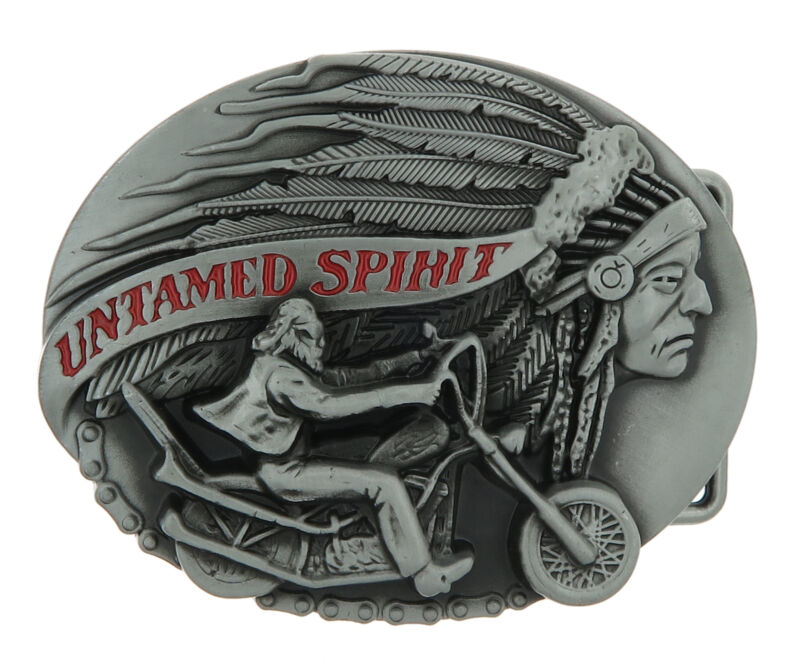 Untamed Spirit Indian Motorcycle Biker Metal Belt Buckle