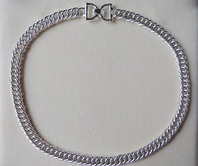 """Ralph Lauren Silver Tone Double Overlapping Curb Link Chain Necklace 18"""""""