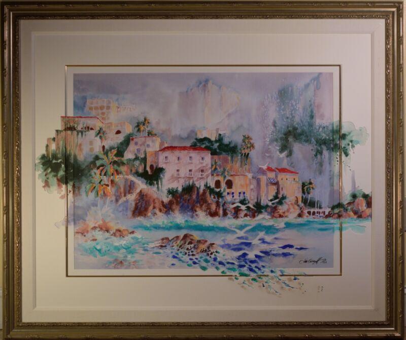 Stunning Jim Gerard Holehouse Le Painting Of Italian Coastal Village, Stellar!