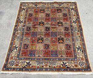 Coffee Table Size Silkinlaid Handwoven Persian Kheshti Rug