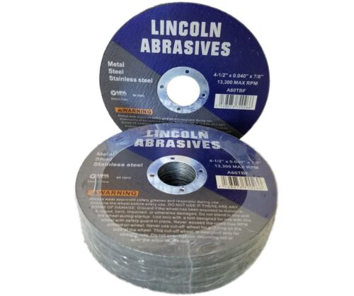 """25 Pc 4-1/2"""" x .040"""" x 7/8"""" Cut off Wheels Stainless Steel Metal Cutting Discs"""