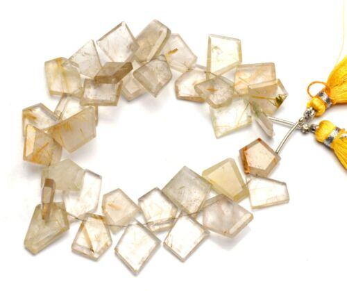 """Natural Gem Golden Rutile Quartz Faceted Fancy Slice Shape Beads Strand 8"""" 146Ct"""