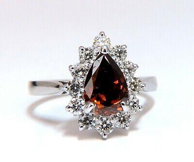 GIA Certified 1.47ct Natural Fancy Orange Brown Diamond Halo Ring  14 Karat