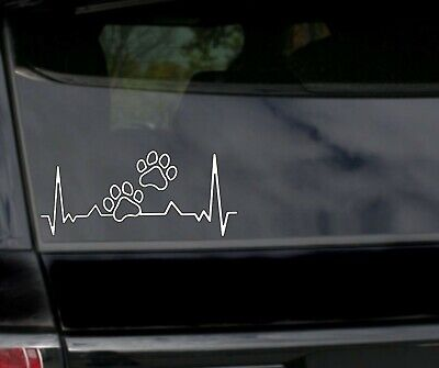 PAW PRINT LIFELINE Vinyl Decal Sticker Car Window Bumper Dog Cat Love
