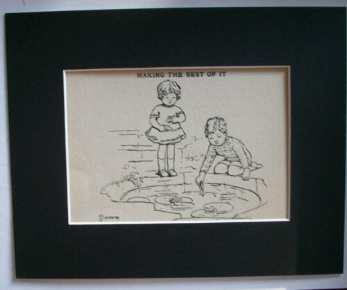 Print Kids Paper Boats Pond Boy Girl Sail 1930s Bookplate 8x10 Matted Adorable