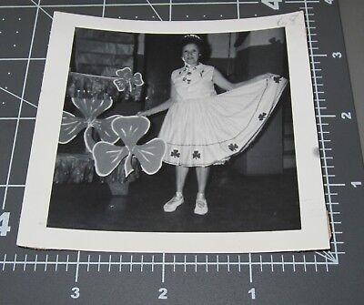 Woman in SHAMROCK SKIRT Dress Fashion Four Leaf Clover Irish Lady Vintage PHOTO - Shamrock Skirt