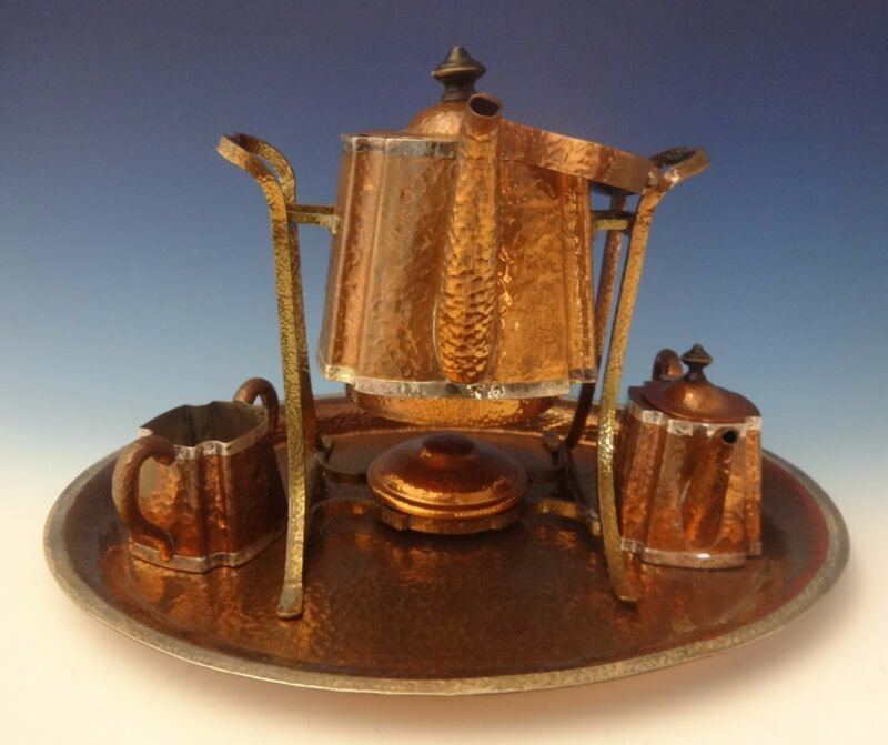 Joseph Heinrichs Copper Tea Set Arts & Crafts Tea Kettle Sugar Creamer 4pc #0189
