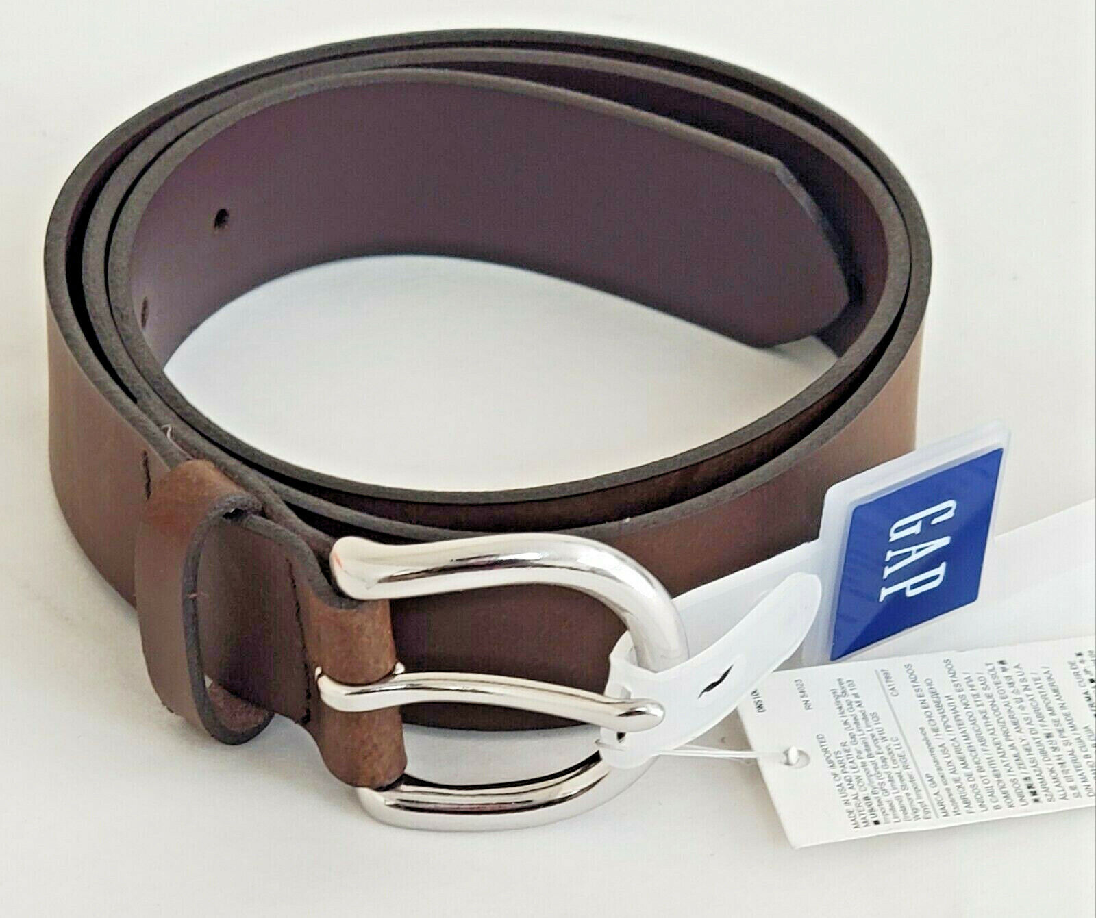 New GAP Women's Classic Belt Brown Silver Buckle Adjustable Cow Leather MEDIUM Belts