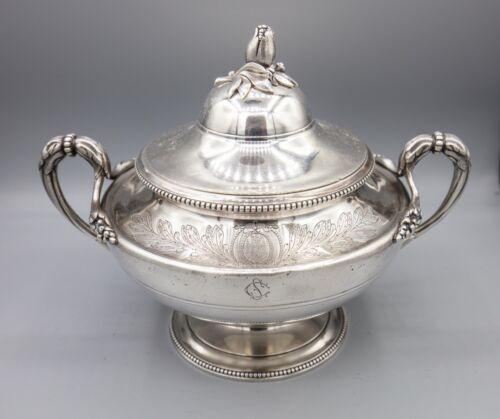 Antique Christofle Silverplate Sauce Tureen, Lidded Bowl, Unicorn Crown Anchor