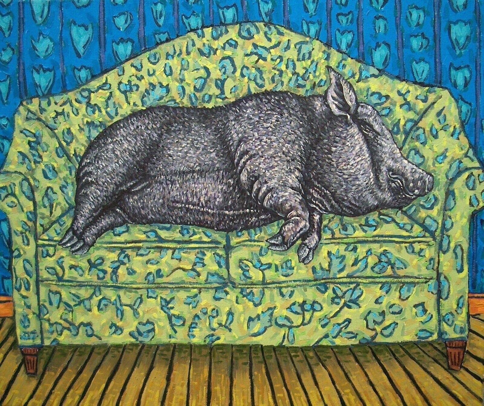 pig reclining nude 8x10  art print animals modern gift aRTIST NEW
