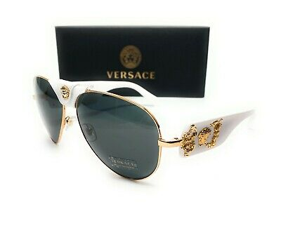Versace VE2150Q 134187 White Gold Grey Lens Men Sunglasses 62-14