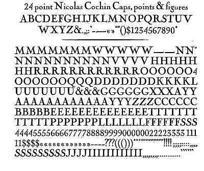 New Letterpress Type- 24 Point Nicolas Cochin Complete Font