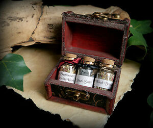 3 x Witches Potion Bottles in a Chest Black Salt Elemental Witch Bottle Spells