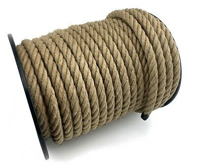 20mm Natural Jute x 50 Metre Reel, Hessian Rope Twisted Cord Garden Decking Rope