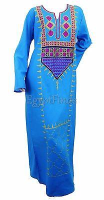 Egyptian Cotton Embroidered Galabeya Abaya Islamic Dress Blue Jilbab Kaftan SALE