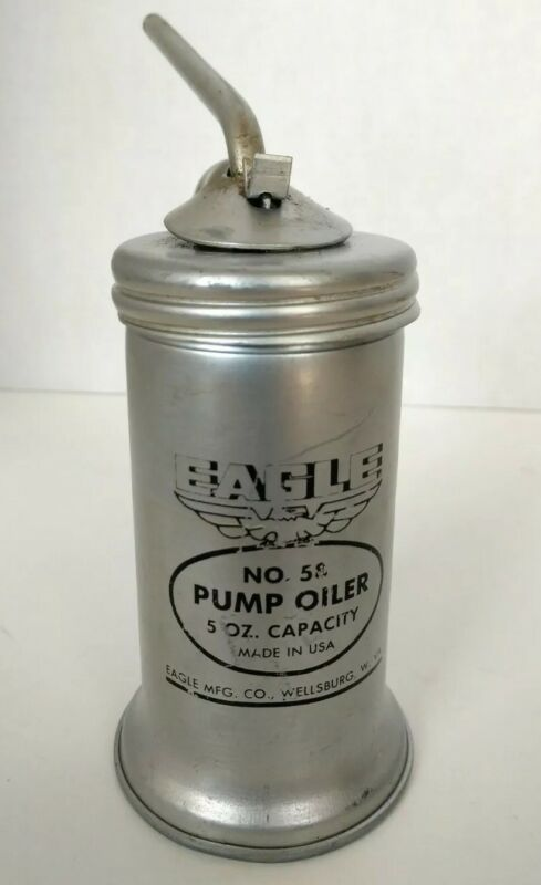 Vintage Eagle NO. 58 Pump Oiler Can 5 Oz USA garage collectable Excellent Shape