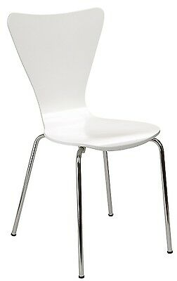(Wood Desk Chair White Curved Dorm Room Office Furniture Retro Modern Bedroom)
