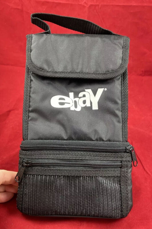 eBay Promotional Insulated Lunch Bag w/Pocket & Zippered Bottom Compartment Blk