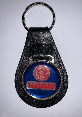 Used, Saab Keyring w/Faux Leather Fob, Key Chain Round Metal Charm, Split Ring for sale  Warwick