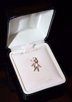 14KT Yellow Gold  APRIL BOY  Charm Pendant -  Diamond Birthstone 14kt Gold Baby Boy Charm