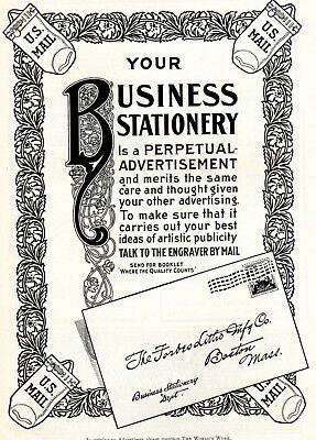 1903 ad Vintage Forbes Litho Co Business Stationary John Holland Fountain Pen