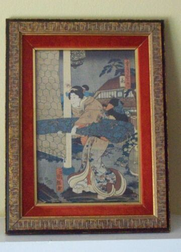 Original Utagawa Japanese Original Woodblock Print W/ Custom Framed