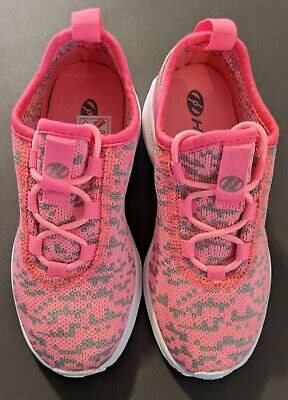 HEELYS Player Pink / Gray Textile Lace Up Skating Shoes Girls Size (Youth 2)