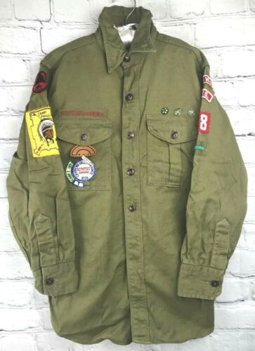 Vtg Boy Scouts of America BSA Shirt Patches Pins Greenwood WI Camp Phillips 1950