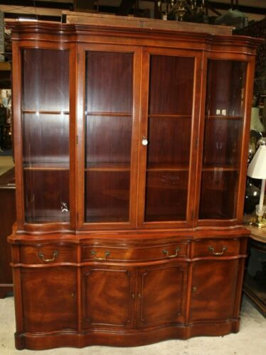 Vintage Morganton Breakfront Cherry China Cabinet with Serpentine Glass - 2 pcs