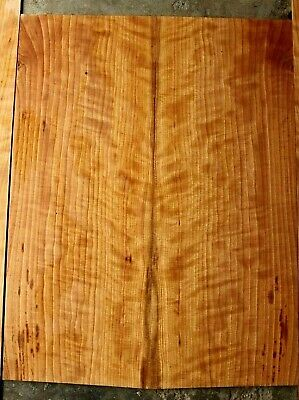 Quartersawn Curly black cherry acoustic guitar tonewood back and sides set 1051