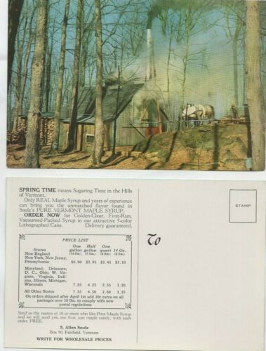 2 Vermont Maple Syrup Camp Advertising Postcards, Large, Price List, Fairfield