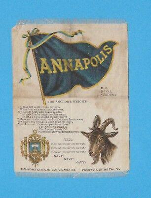 c1910s S23 tobacco silk U. S. NAVAL ACADEMY  (NAVY)  MASCOT college cheer silk