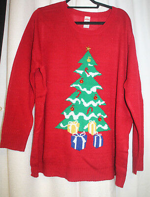 NEW WOMENS PLUS SIZE 3X  HOLIDAY TIME RED CHRISTMAS TREE SWEATER