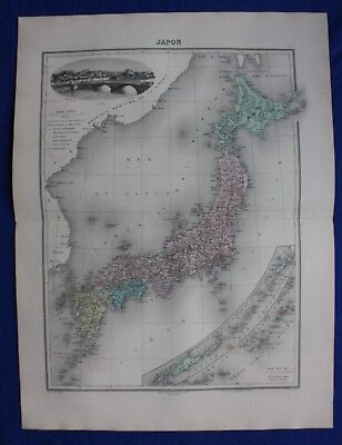 Original antique map JAPAN, KURILES ISLANDS, TOKYO, Migeon 1891