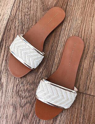 New Zara Women's Bohemian Slip-on Sandals, Size 37, Gold/Beige/Khaki