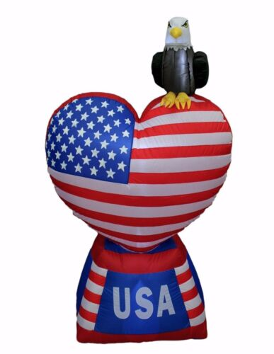 5 Foot Tall Patriotic Inflatable Eagle Heart American Flag Yard Party Decoration