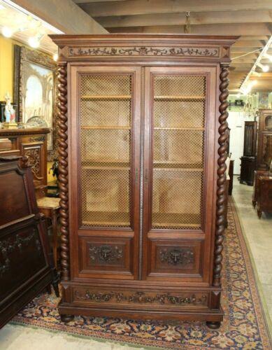 Exquisite French Oak Louis XIII Renaissance Double Grilled Door Bookcase