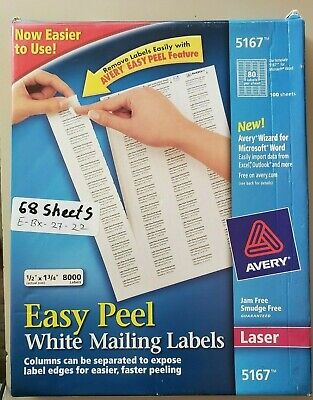 Avery Easy Peel White Mailing Address Labels 5167 Laser 68 Sheets 5440 Labels
