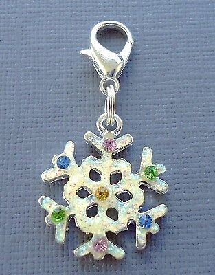 C10 Crystal (Crystal Christmas Snowflake Clip On Charm Lobster Clasp Fit for Link Chain)