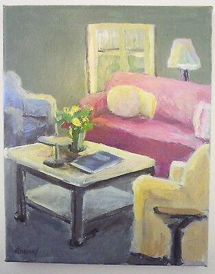 Ellen E.F. Sweeney Kansas City Artist MODERN INTERIOR OIL PAINTING Living Room
