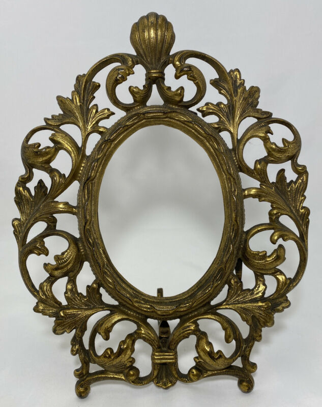 Vintage Victorian Ornate Scroll Vine Cast Iron Oval Easel Picture Mirror Frame