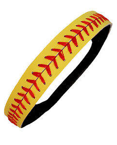 Leather-Softball-Seam-Headband-Yellow-with-Red-Seam-Lace-Wholesale-Fast-Pitch