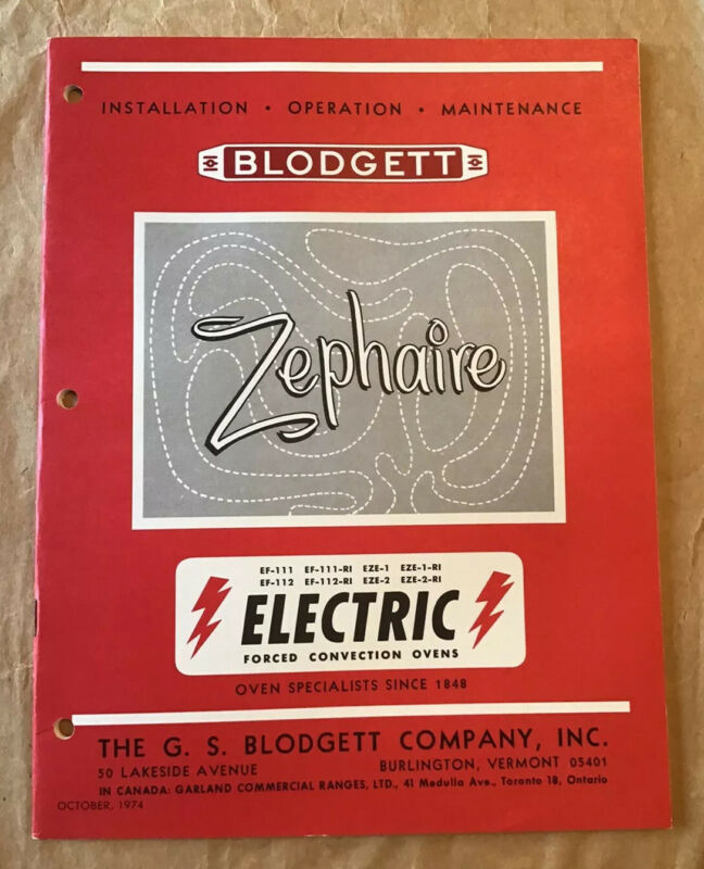 Vintage Blodgett Electric Ovens Installation Operation Maintenance Manual 1974