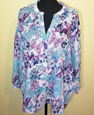 - Salon Studio Butterfly + Dragonfly Floral Women's Blouse - Size 4XL