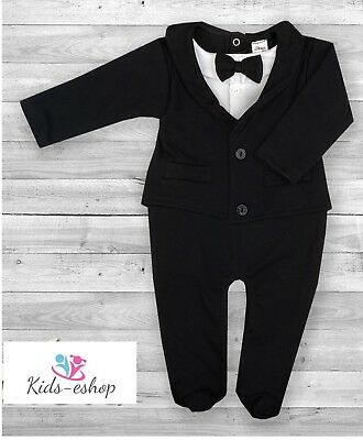 Baby Boy All-in-One Black Suit Wedding Christening Formal Party Outfit Tuxedo
