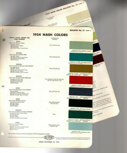 1954 NASH Color Chip Paint Sample Brochure / Chart: DuPont