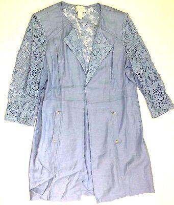 chico's 3/4 sleeve crochet sheer 3/4 sleeve jacket tunic blue size 1 small 8