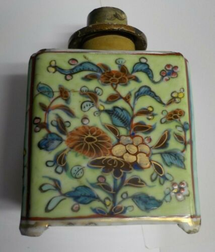 Antique 18th Century Chinese Tea Caddy / Floral & Leaves