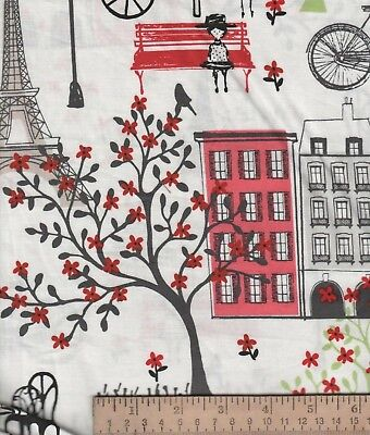 Paris Effiel Towers City Scape Food Cart Bench Town Waverly Inspirations Fabric
