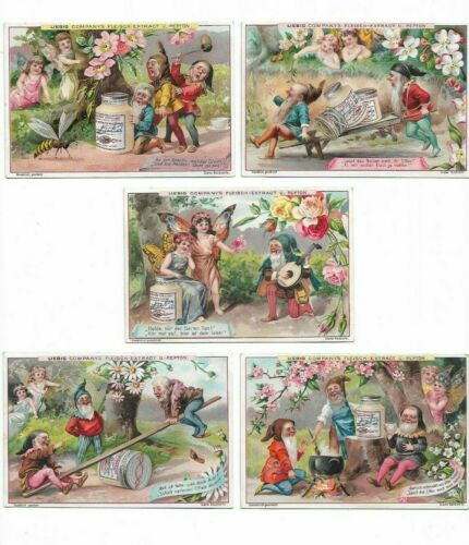 6 Victorian Trade Cards Fantasy Gnomes Liebig Advertising   L1